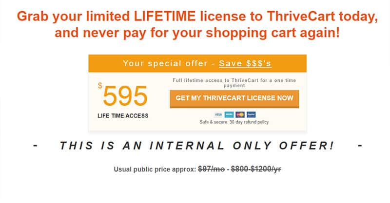 Thrivecart Price for a lifetime license