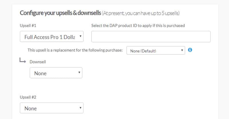 1 click upsells and downsells example in Thrive Cart for a high converting sales funnel