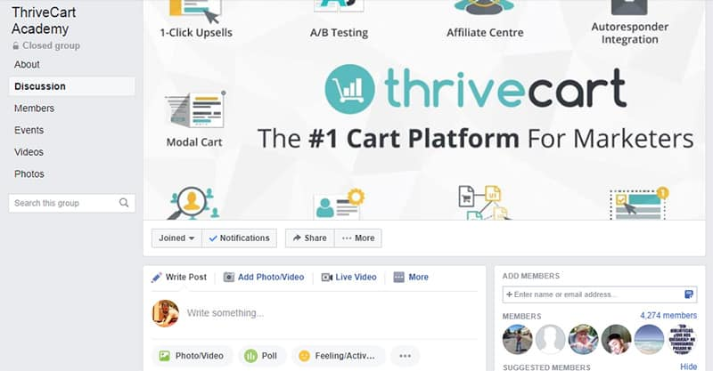 Thriveart Support Facebook Group