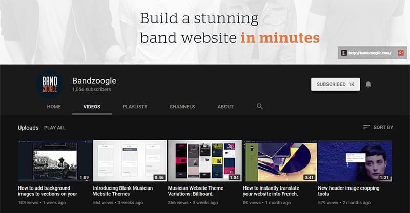 Music website marketing on YouTube
