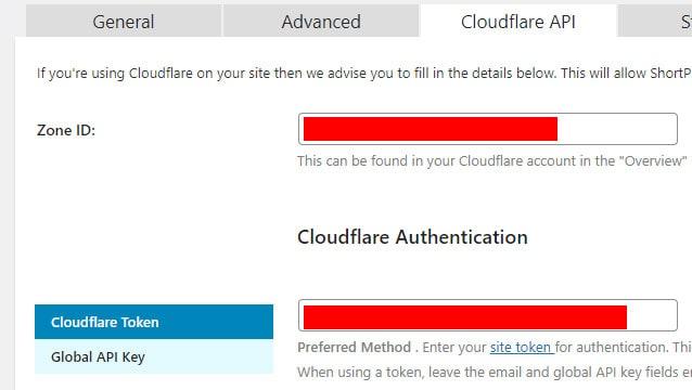 ShortPixel Cloudflare API Settings
