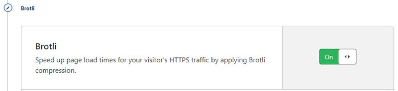 Cloudflare settings use Brotli