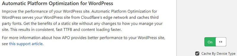 Cloudflare APO options