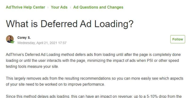 AdThrive Deferred Loading Ads